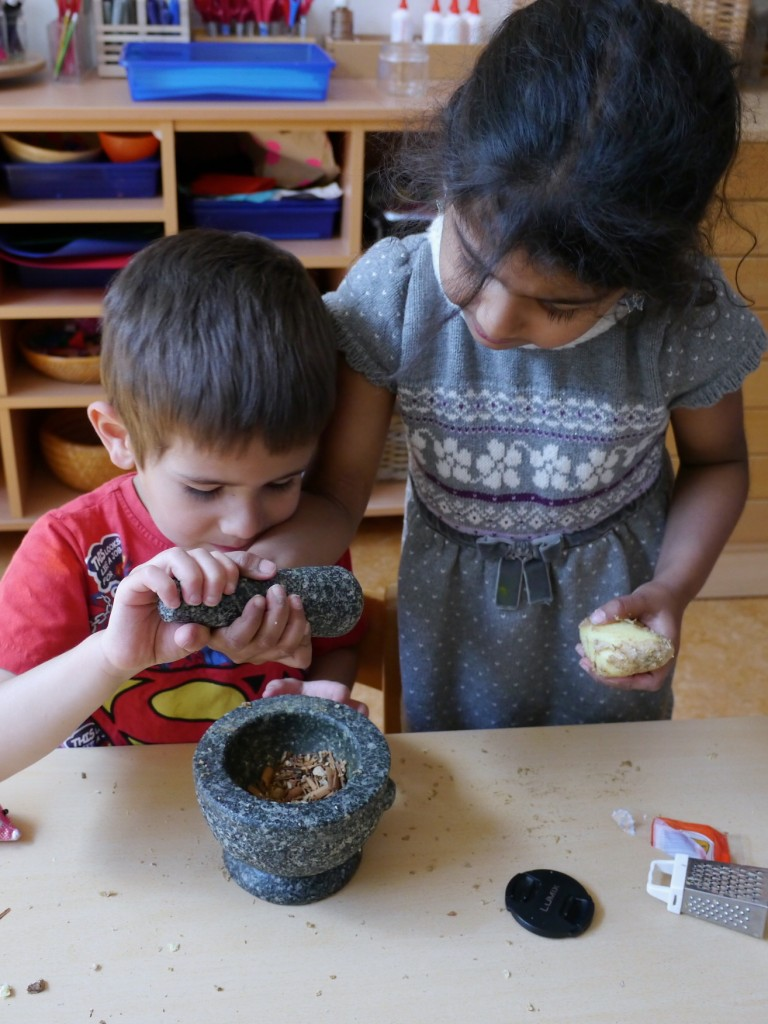 Grinding ingredients together in the motar and pestle