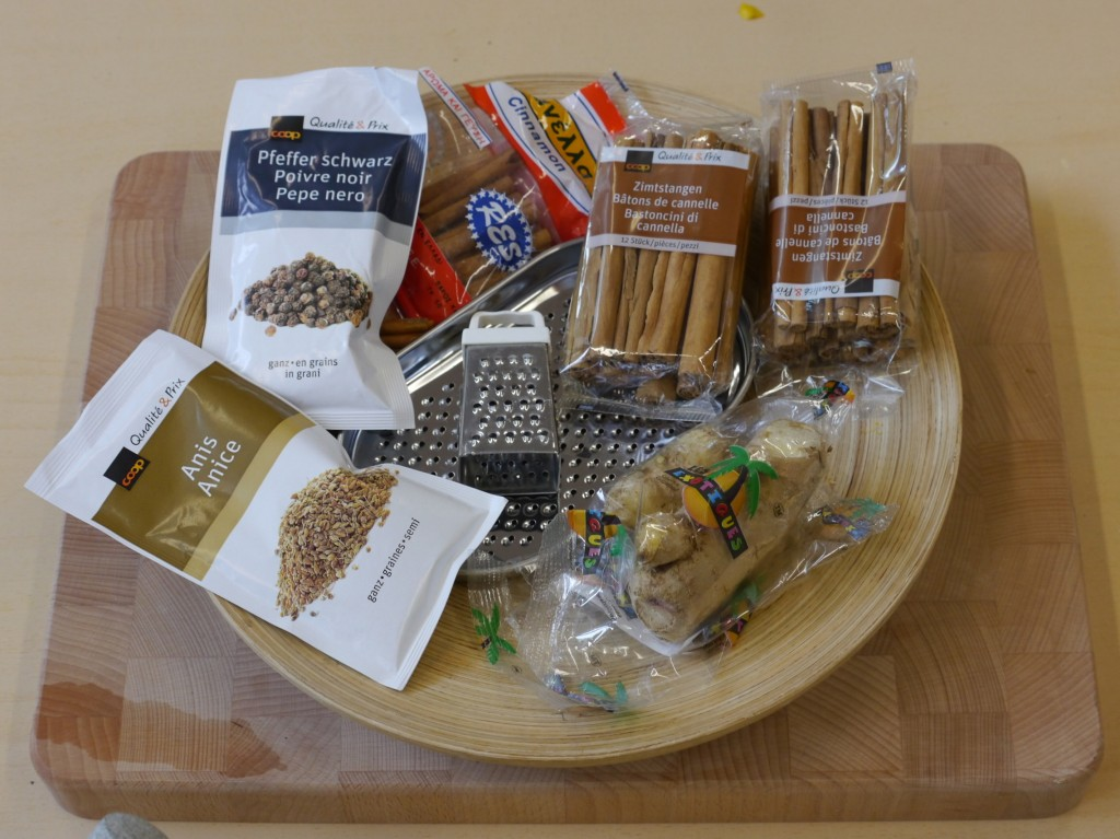 Selection of dry ingredients to use in the mortar and pestle.